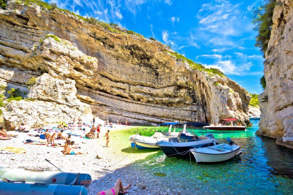 Idyllic beach of Stinva on Vis island