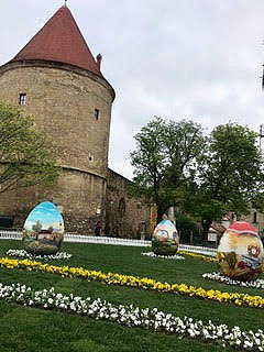 decorative easter eggs in front of croatian castle