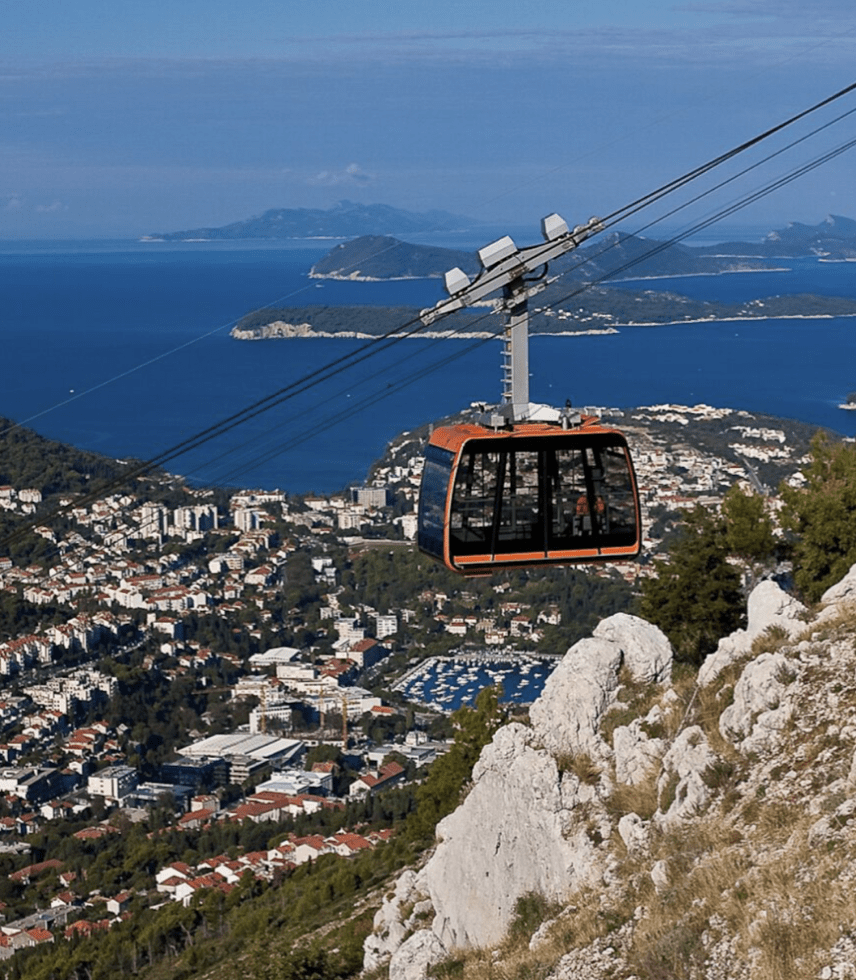 Cable car over the mountains in Dubrovnik