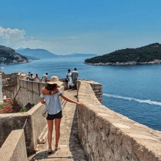 Medieval wall by the sea in Croatia